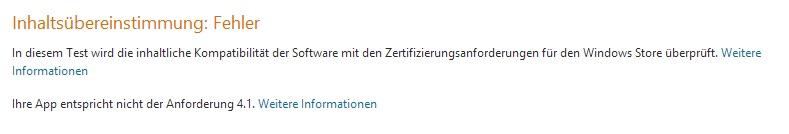 Fehlermeldung des Windows 8 Stores