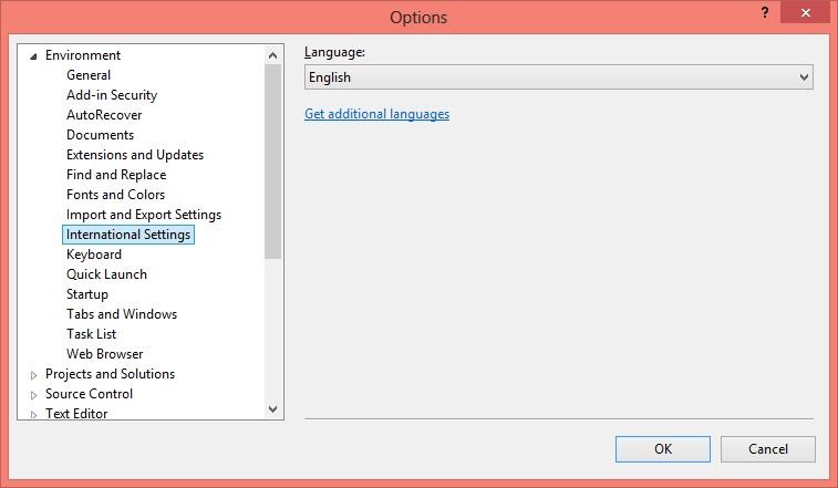 Sprachauswahl-Einstellungen in Visual Studio