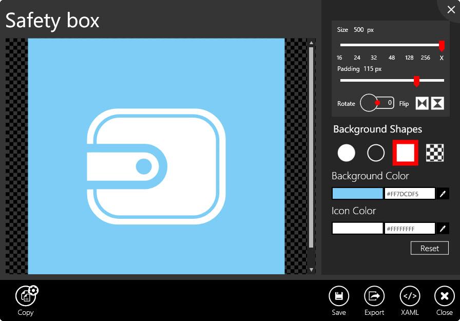 Bearbeitung eines Icons in 'Metro Studio'