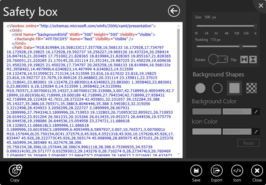XAML-Ansicht des ausgewählten Icons