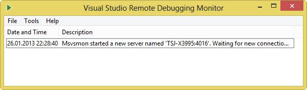 Visual Studio Remote Debugging Monitor