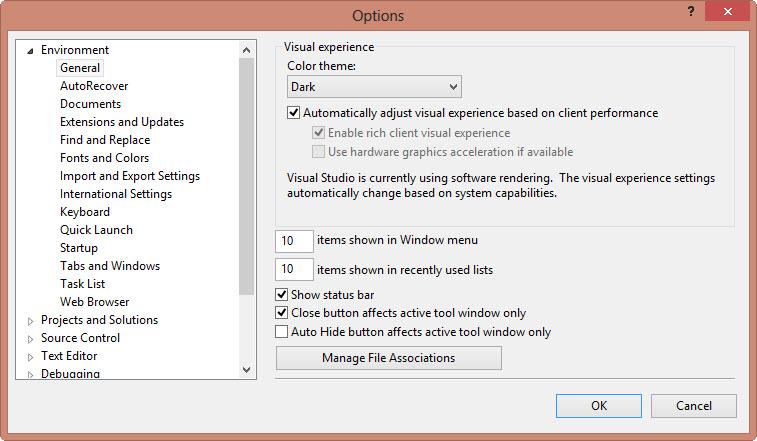 Einstellungsmöglichkeiten in Visual Studio Express