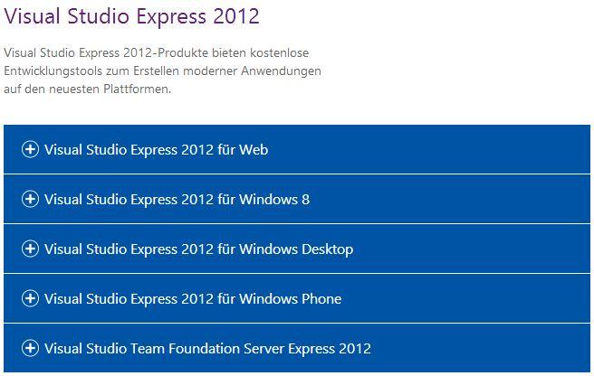Varianten von Visual Studio Express 2012