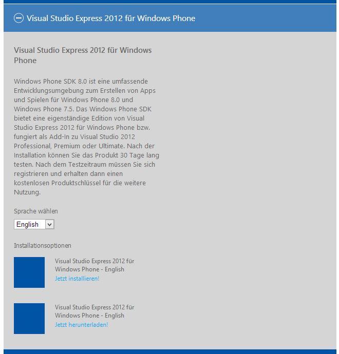 Visual Studio Express for Windows Phone