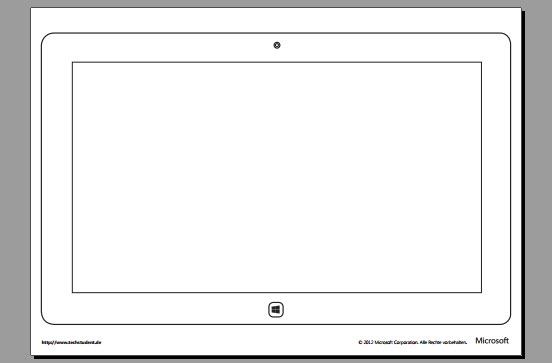 Vorlage eines Windows 8 Tablets