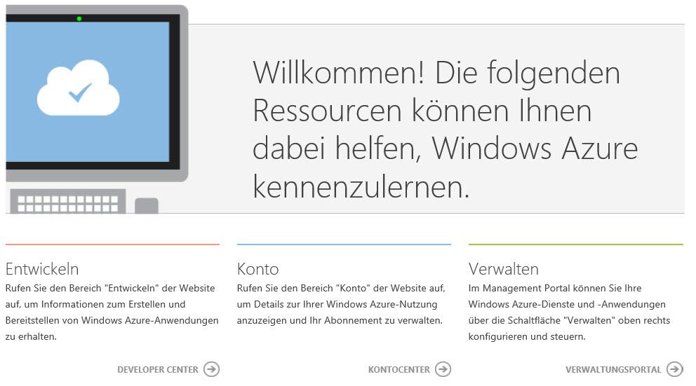 Willkommen bei Windows Azure