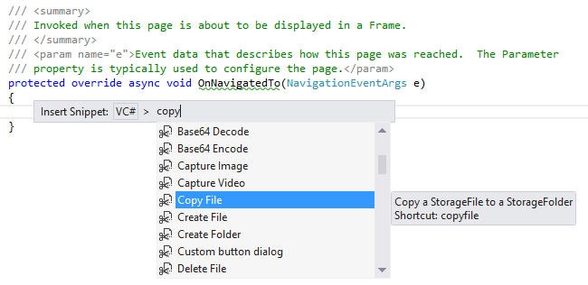 Code-Snippets in VS 2012