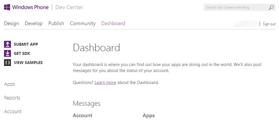Windows Phone Dev Center Dashboard