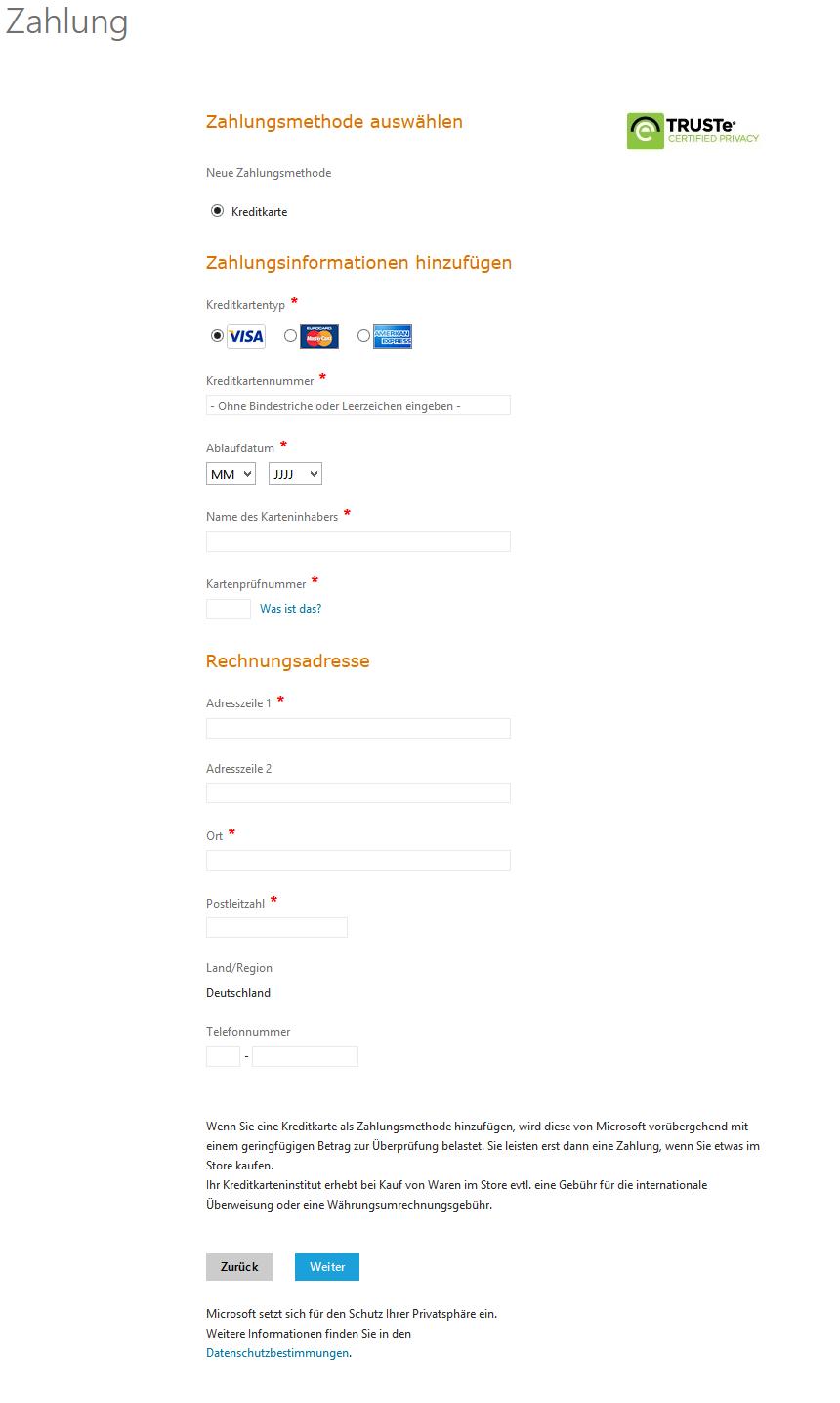 Zahlungsinformationen Kreditkarte