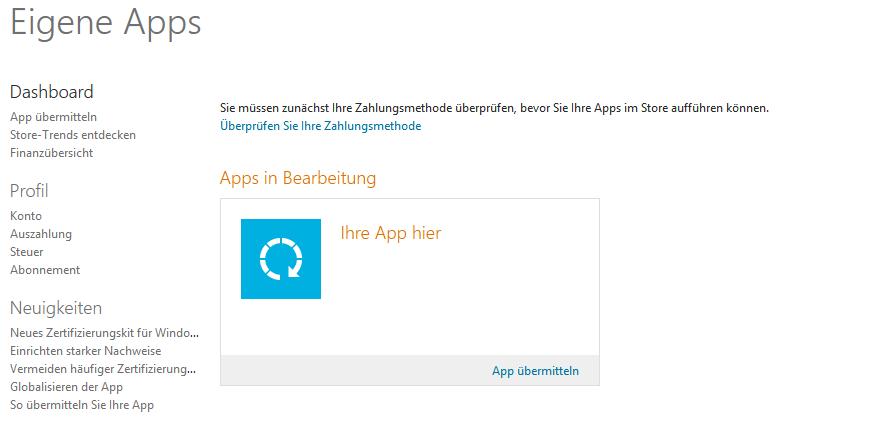Das Entwickler-Dashboard