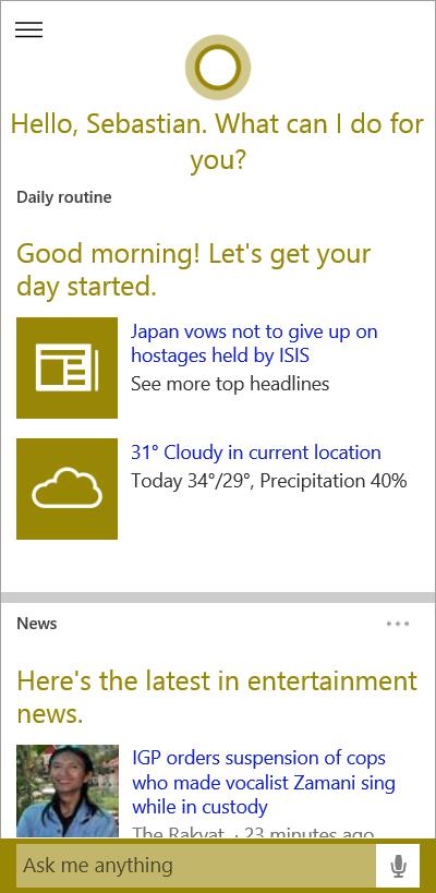 Cortana auf dem Desktop