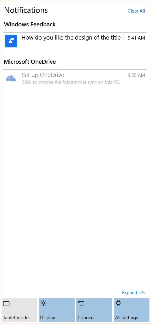 Das neue Notification Center von Windows 10