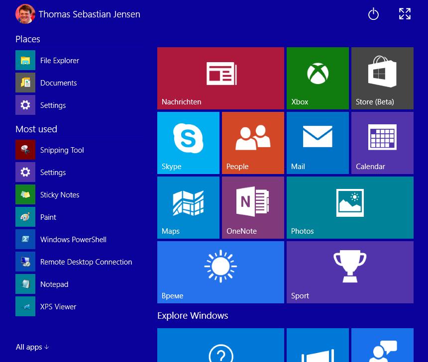 Das neue Startmenü in Windows 10