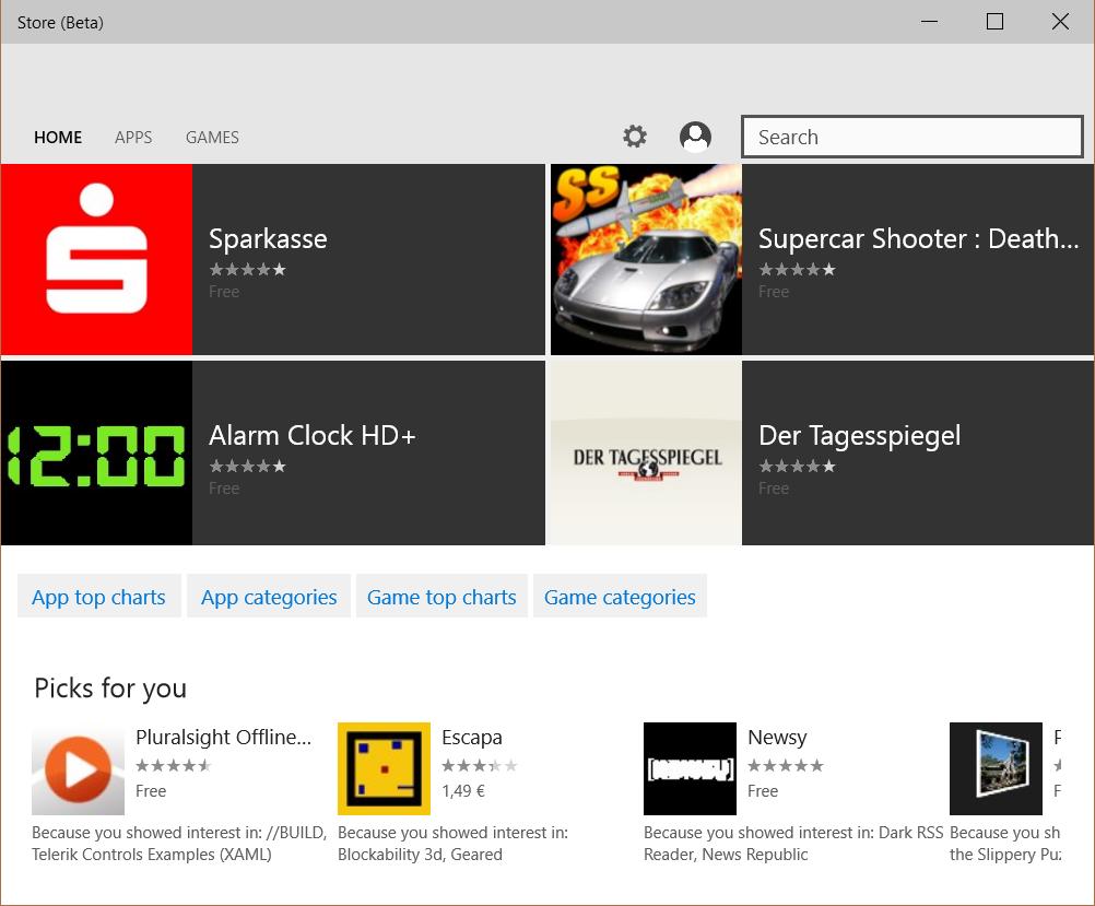 Der Beta-Store von Windows 10